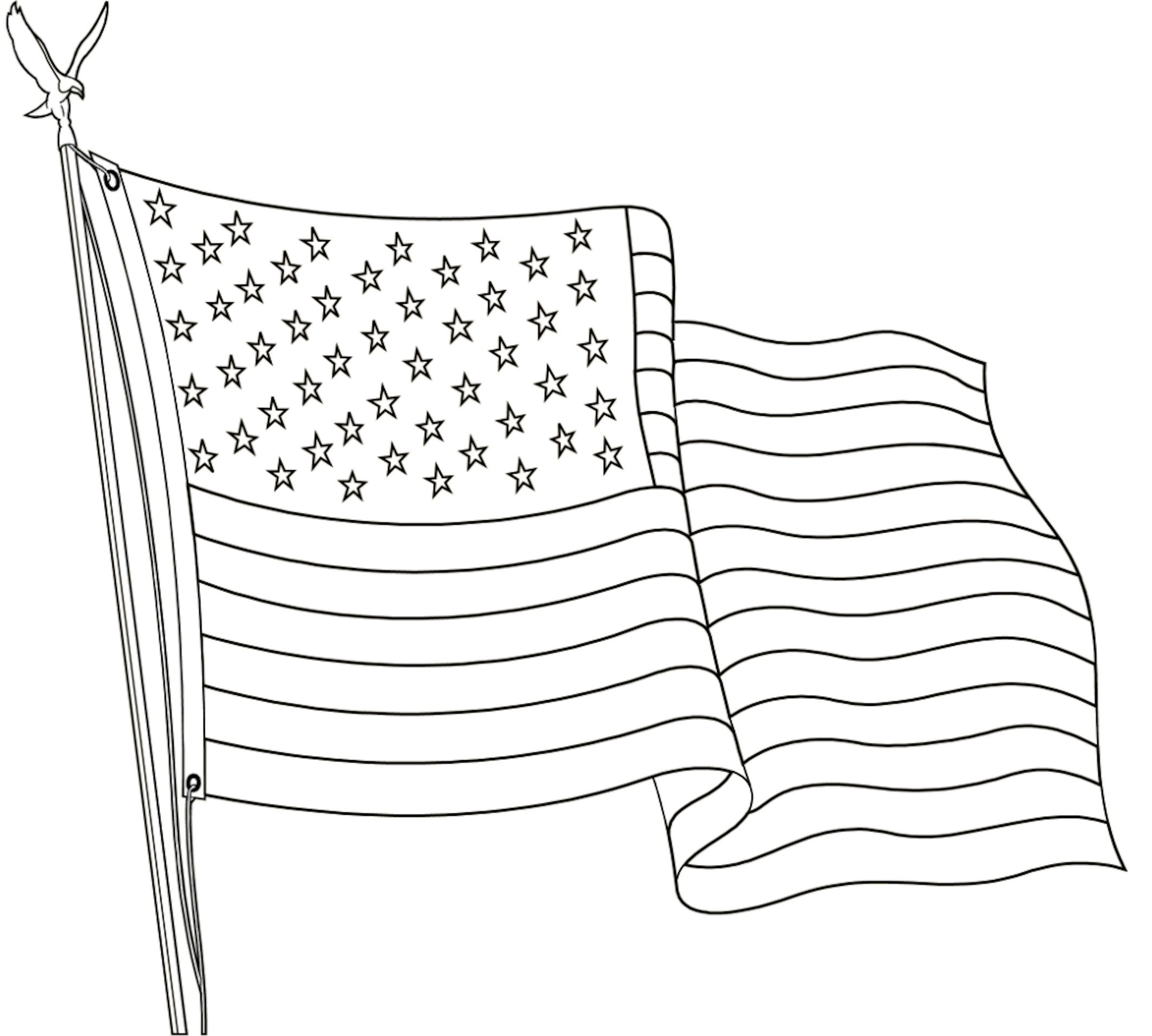 FREE Printable US Flags & American Flag color book pages