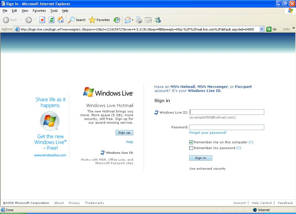 IE 6 default start page