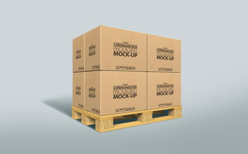 Download Free Cardboard Boxes on Pallet Mockup - DesignHooks