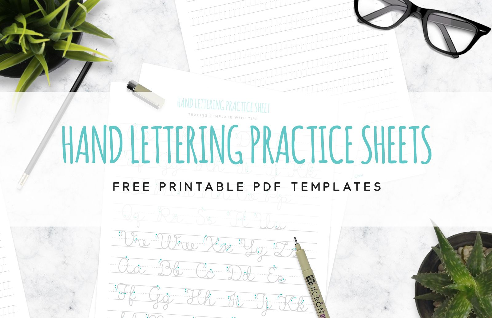 Free Hand Lettering Practice Sheet Mockup In Psd
