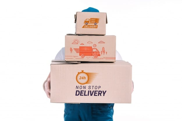 Download Free Delivery Boxes Plus Delivery Man Mockup in PSD ...