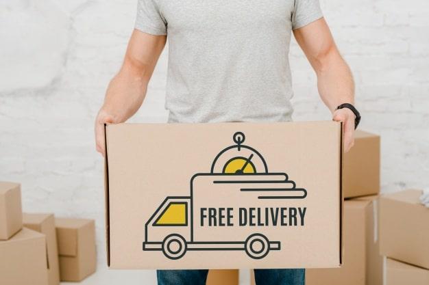 Download Free Delivery Cardboard Box Mockup in PSD - DesignHooks