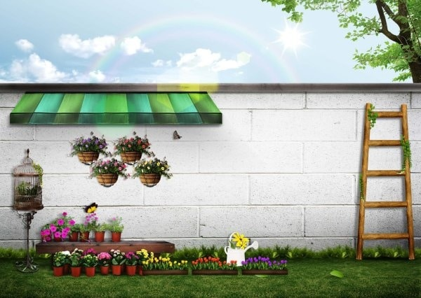 Simple edit with smart layers. Free Home Garden Illustration Mockup In Psd Designhooks