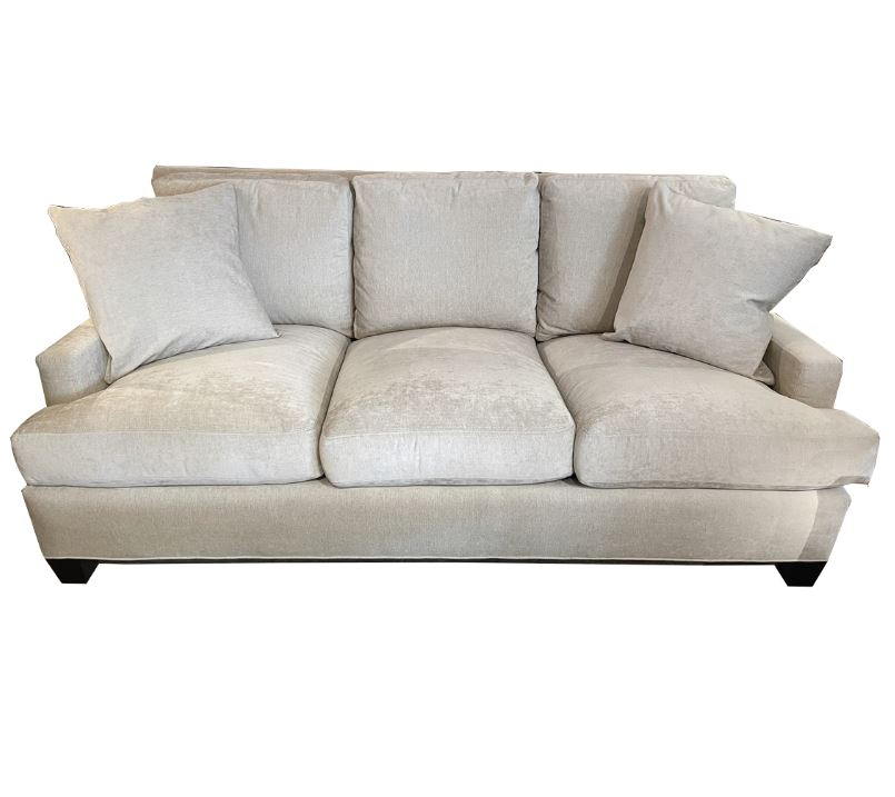 3 seat cushioned sofa w loose pillow back and tapered wood block legs upholstered in palm cream fabric design house