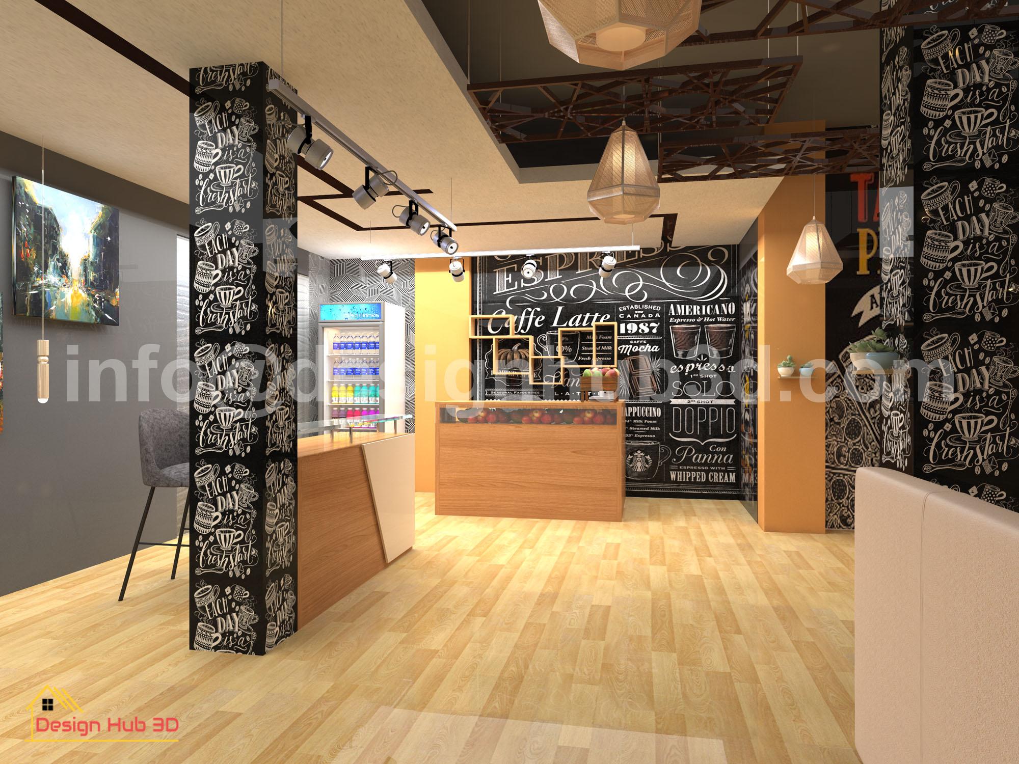 DesignHub 3D-Restaurant Top view, Restaurant interior, Restaurant Decor
