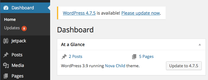 Update WordPress via the Dashboard
