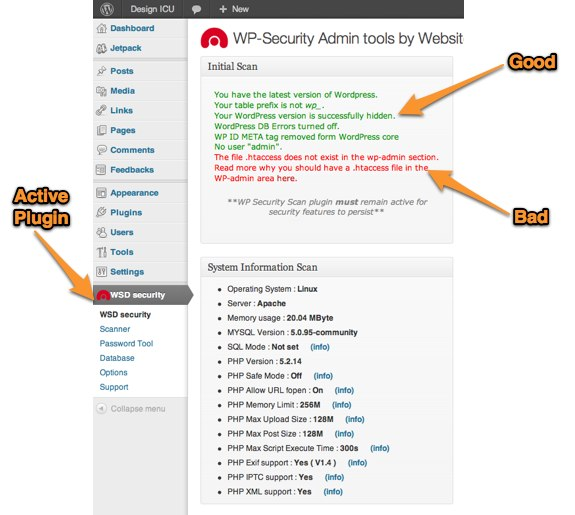 WSD Security Plugin Settings