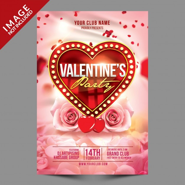 Beautiful Valentines party flyer psd template Psd
