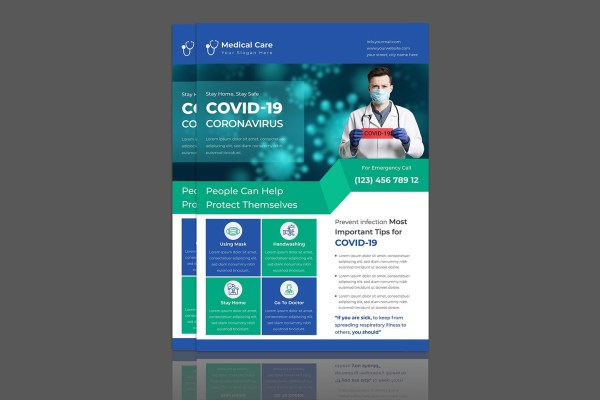 Creative Coronavirus Covid-19 Flyer Design Template