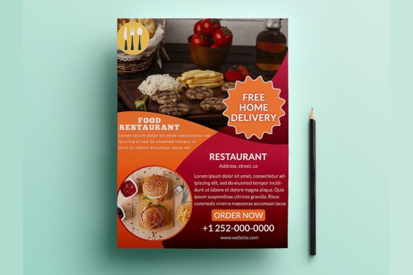 Restaurant Advertising Flyer Template Free PSD | Design Idea 4u