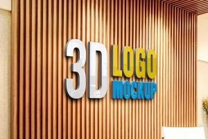 Download Free PSD - Logo Mockup 3D Modern Wall