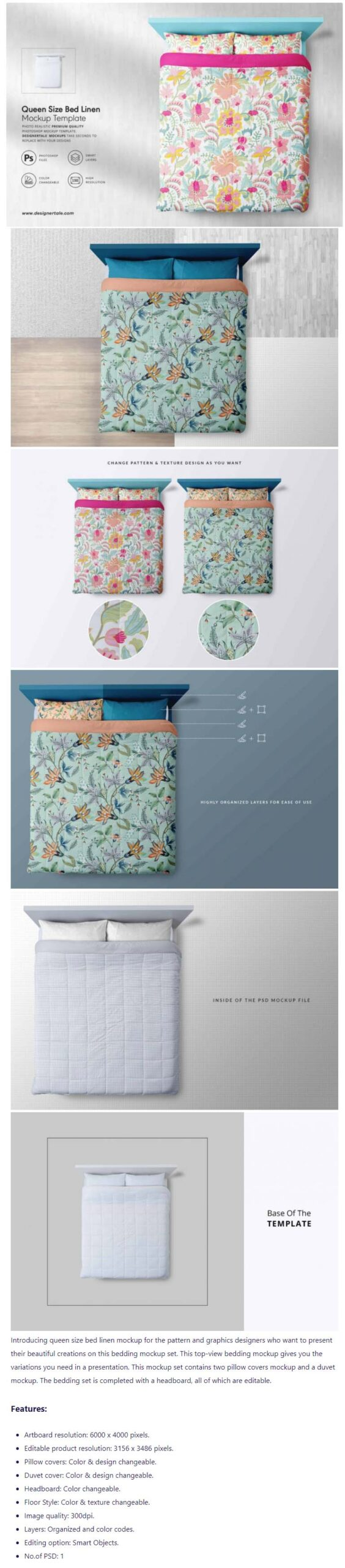 Free Download Queen Size Bed Linen Mockup PSD Template