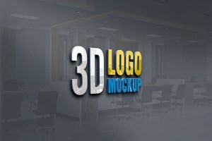 New 3D Logo Mockup PSD Free Download