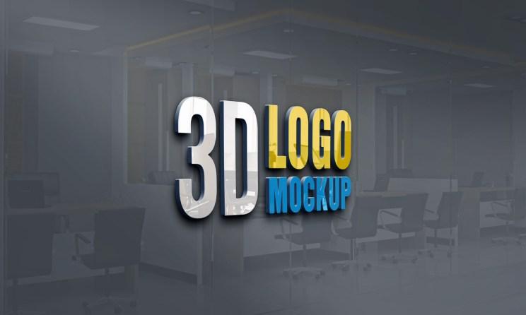 New 3D Logo Mockup PSD Free Download