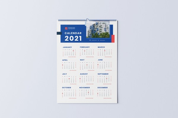 Wall Calendar 2021 | Minimalist Real Estate Calendar 2021