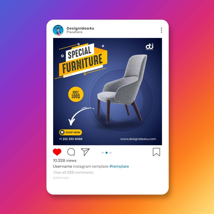 Dark Blue Color Exclusive Furniture Product Instagram Post Banner