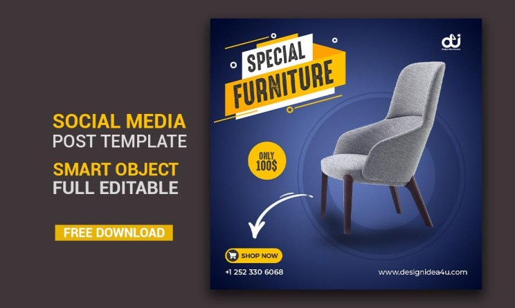Dark Blue Color Exclusive Furniture Product Social Media Post BannerDark Blue Color Exclusive Furniture Product Social Media Post Banner