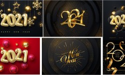 Happy New Year 2021 Decorative Illustration EPS
