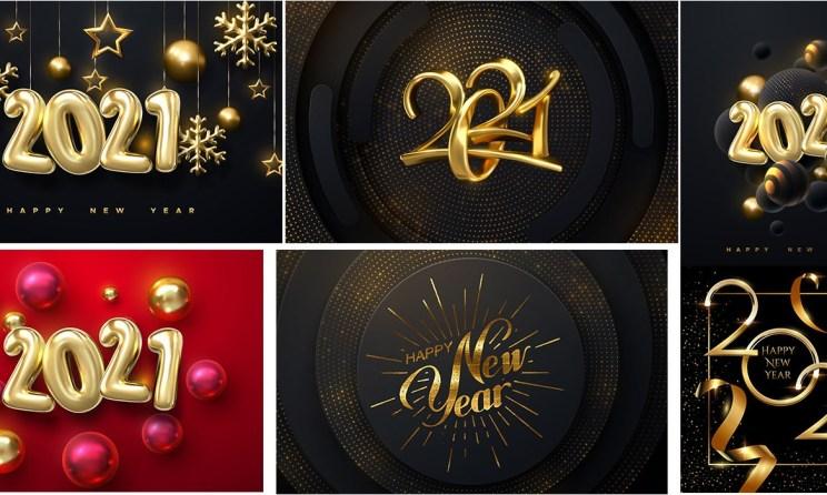 Happy New Year 2021 Decorative Illustration EPS