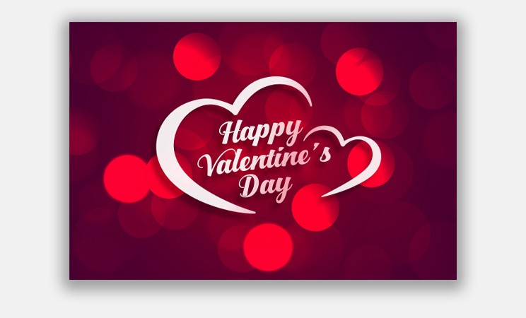Beautiful Happy Valentines Day Greeting Card with Bokeh Light Effect Free Vector