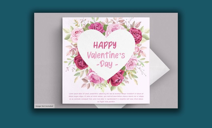 Valentine's day greeting card with beautiful floral and leaves Free Vector