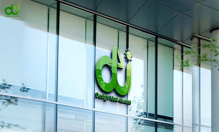 3D Glass Wall Logo Mockup PSD