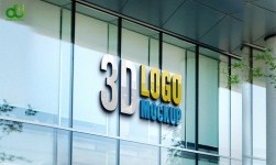 3D Glass Wall Logo Mockup PSD Free Download