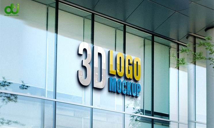 3D Glass Wall Logo Mockup PSD Free Download