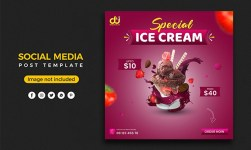 Ice cream menu social media post banner template