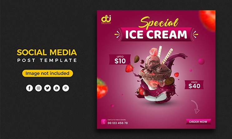 Ice cream menu social media post banner template