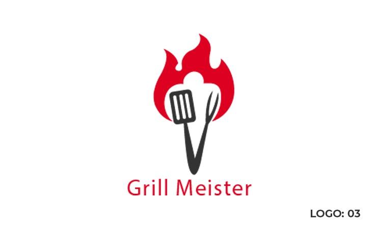 grill logo design vector