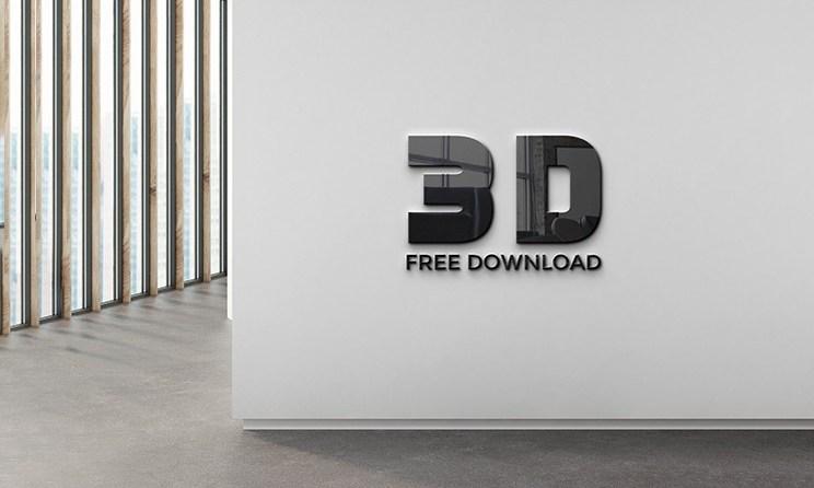 3D Wall Logo Mockup PSD