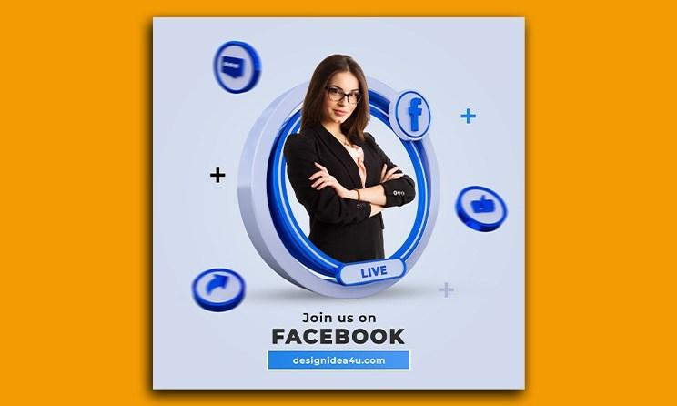 Follow Us On Facebook Social Media Square Banner