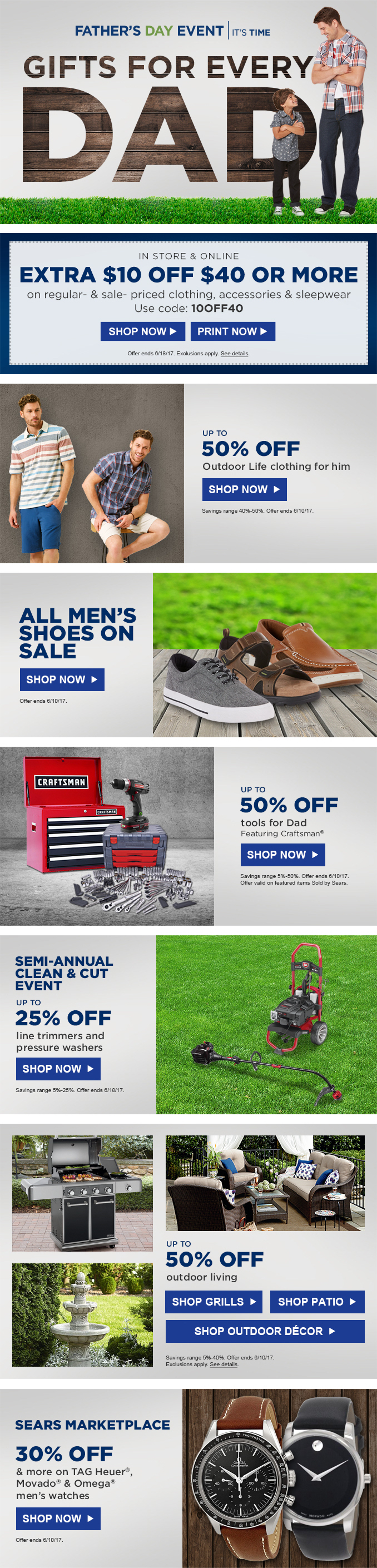 Sears Father's Day Email