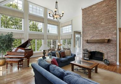 Living Room With Corner Fireplace
