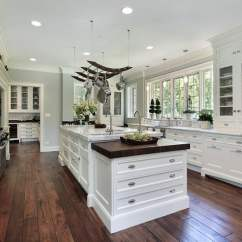 White Kitchen Floor Modern Appliances 143 Luxury Design Ideas Designing Idea With Marble Island Hanging Pots And Pans Hardwood Flooring