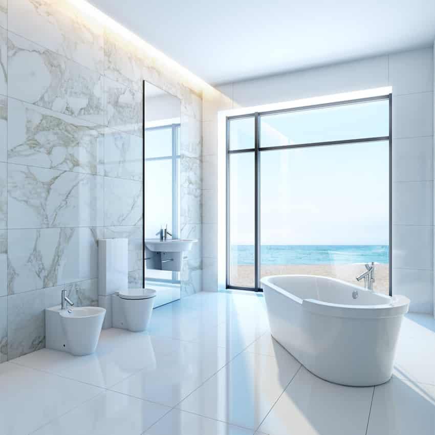Calacatta Porcelain Tile Bathroom
