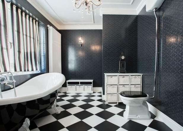 Black And White Bathroom Tile Designs | Black White Bathroom Wall Tile Designs Mybuilders Org