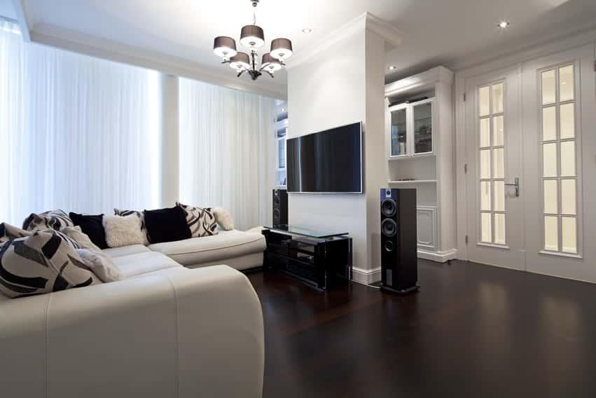 dark laminate flooring living room high gloss white furniture 67 luxury design ideas designing idea with sound system