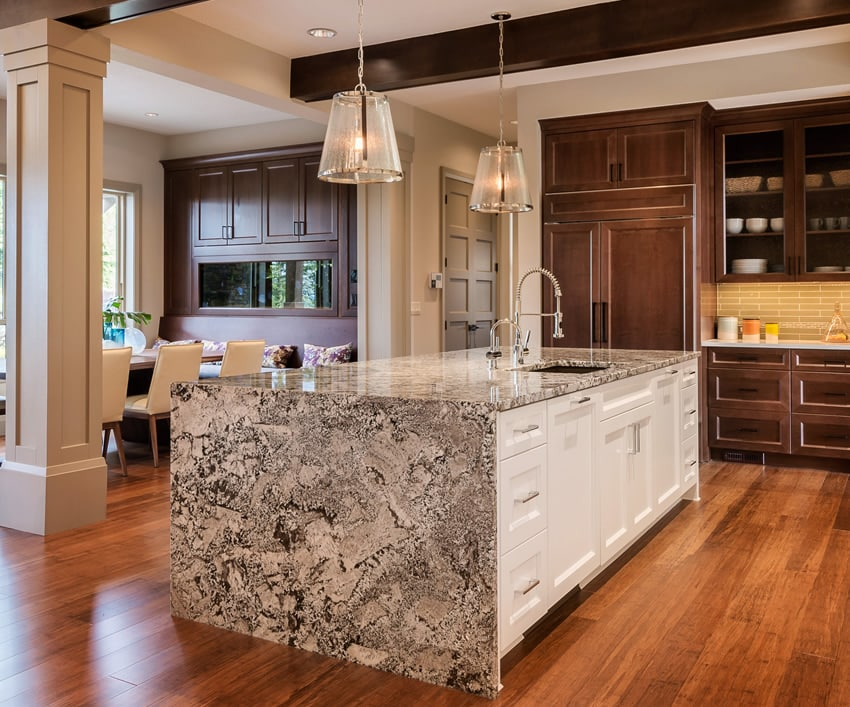 kitchen islands ideas f beautiful waterfall countertop designs designing island with white base cabinet and dark wood main cabinets