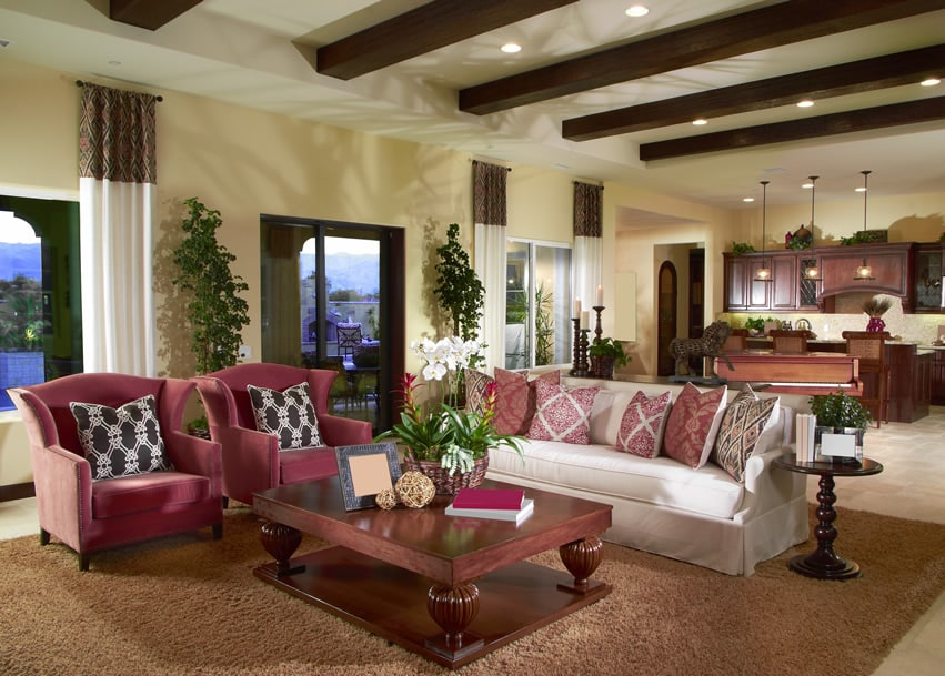 living room wooden ideas layout with sectional sofa 50 elegant rooms beautiful decorating designs exposed wood beams and large coffee table