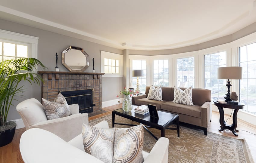 formal living room with brick fireplace best wall colors for ideas 50 elegant rooms beautiful decorating designs upscale decorative