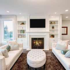 Living Room Fireplace Off Centered Grey And Purple Pictures 50 Elegant Rooms Beautiful Decorating Designs Ideas White Theme With Built In Shelving
