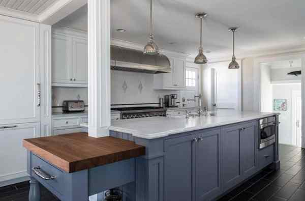 white kitchen cabinets blue countertops 27 Blue Kitchen Ideas (Pictures of Decor, Paint & Cabinet Designs) - Designing Idea