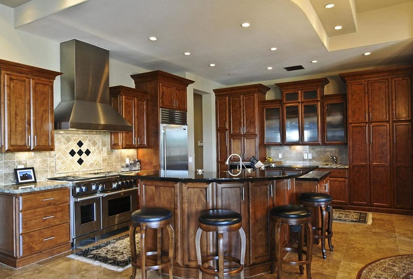 narrow kitchen island with seating overstock faucets 50 high-end dark wood kitchens (photos) - designing idea