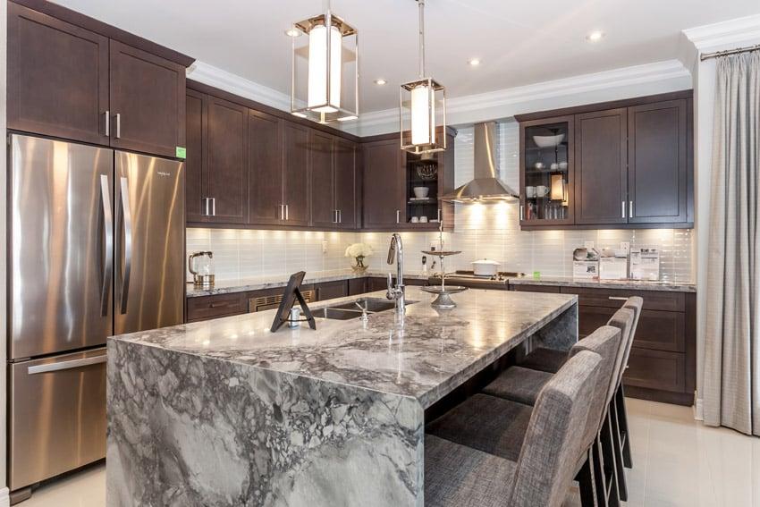Beautiful Waterfall Kitchen Islands Countertop Designs Designing