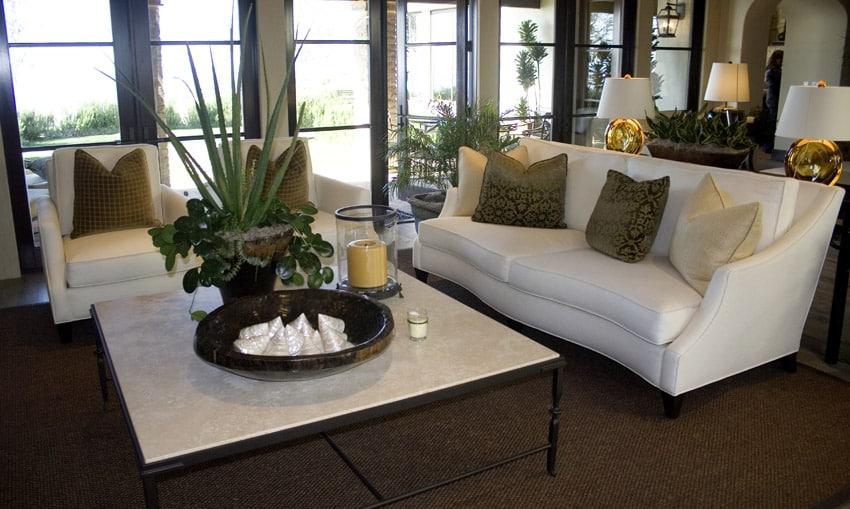 White Elegant Living Room Furniture