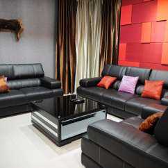 Modern Living Room Ideas With Black Leather Sofa Gray And Purple 60 Stunning Photos Designing Idea Bright Red Orange Accent Wall In Furniture