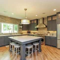 Grey Kitchen Island Euro Style Cabinets 50 Gorgeous Designs With Islands Designing Idea White Quartz Counter