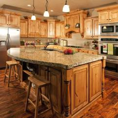 Hickory Kitchen Island Countertop Stools 50 Gorgeous Designs With Islands Designing Idea Thick Granite Topped In Wooden Cabinet